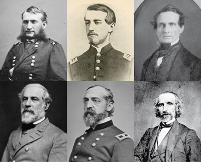 Brigadier General Hugh Judson Kilpatrick, Colonel Ulric Dahlgren, Jefferson Davis; bottom: Robert E. Lee, George Gordon Meade, and Confederate Secretary of War Sedd
