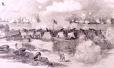 View of the Battle of Port Royal from the Confederate heights by Rossiter Johnson. Click on image or more information.