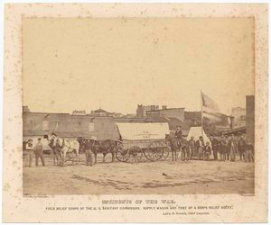 Field relief corps of the U.S. Sanitary Commission. Supply wagon and tent of a corps relief agent. Lewis H. Steiner, Chief inspector. Courtesy New York Public Library.