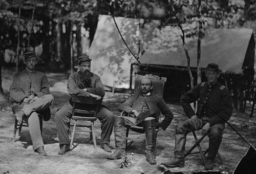 Captain Adams (second from right) with officers of the 1st Massachusetts Cavalry, August 1864