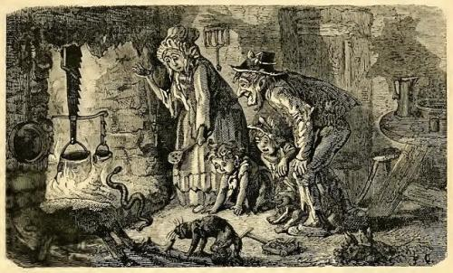 Aesop's fable of the countryman and the viper illustrated by Ernest Griset, 1870s
