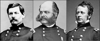 "Major Generals McClellan, Burnside, and ""Fighting Joe"" Hooker"