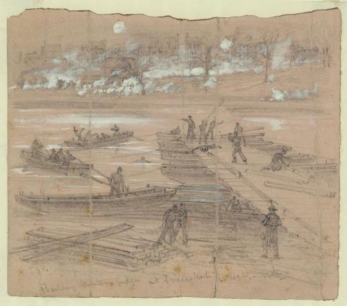 Building pontoon bridges at Fredericksburg, December 11, courtesy Library of Congress