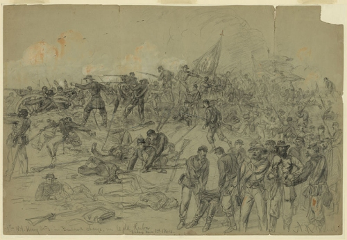 7th New York Heavy Artillery's breakthrough at Cold Harbor, June 3, 1864. Drawing by Alfred Waud, courtesy Library of Congress.