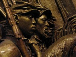 Detail from Saint-Gauden's original tinted plaster model for the memorial to the 54th Massachusetts Regiment
