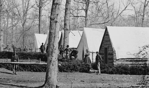 Detail from image above showing Cornelia Hancock at Brandy Station, Virginia Field Hospital.