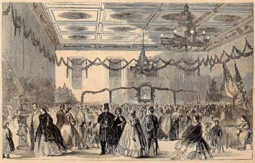 A scene from the Great Western Sanitary Fair in Cincinnati on December 21, 1863. Image courtesy Harper's Weekly.