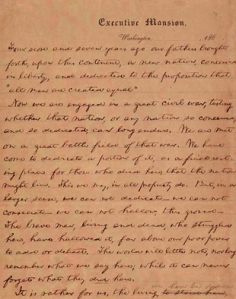 An image of the Gettysburg Address, Library of Congress