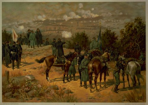 "Painting by Thure de Thulstrup of the ""Battle of Chattanooga"" (depicting the Battle of Missionary Ridge) of the Chattanooga Campaign."