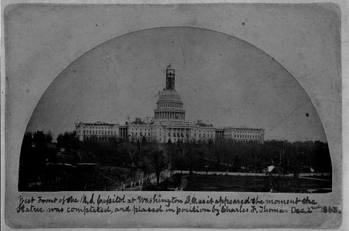 West front of the U.S. Capitol as it appeared the moment the statue was completed, and placed in position by Charles F. Thomas, December 2, 1863, courtesy Library of Congress.