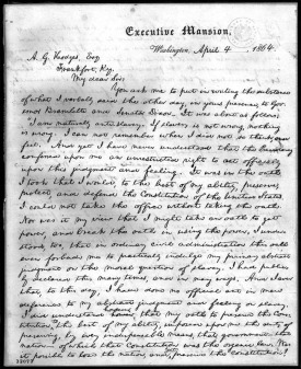 First page of letter from President Lincoln to A.G. Hodge, courtesy Library of Congress
