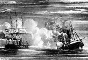 19th century print, depicting the sinking of Hatteras by CSS Alabama, off Galveston, Texas on 11 January 1863. Click on image for larger picture.