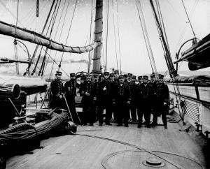 A photo of naval officers on board Kearsarge shortly after the sinking of the CSS Alabama. Click on image for larger picture.
