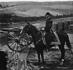 Major General William T. Sherman on Horseback near Atlanta between September - November 1864. Click on image to see the picture larger.