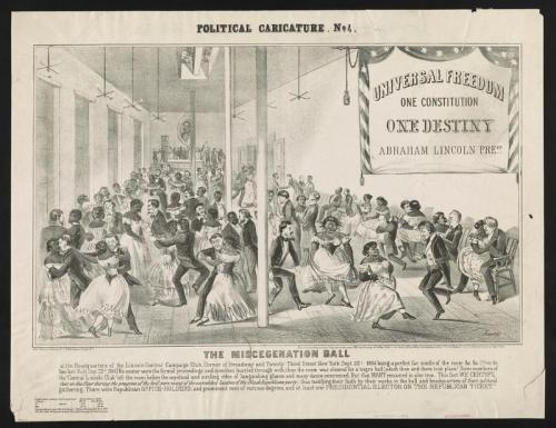 """Official Cartoon"" of Miscegenation Ball, courtesy Library of Congress"