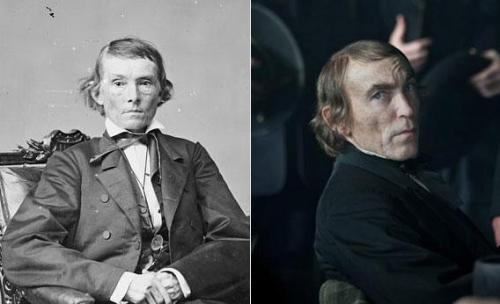 Alexander Stephens, Confederate vice president, circa 1865-1880, and Jackie Earle Haley, the actor who portrayed him in the movie Lincoln.