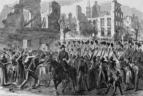 """""""Marching on!""""--The Fifty-fifth Massachusetts Colored Regiment singing John Brown's March in the streets of Charleston,  February 21, 1865, courtesy Library of Congress"""